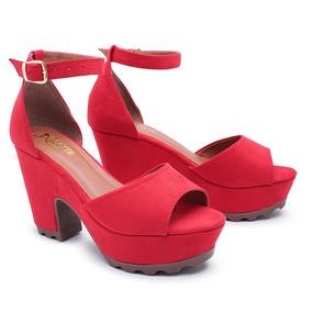 ebdb120059 Sandalia Vermelha Meia Pata - Sandálias para Feminino no Mercado ...