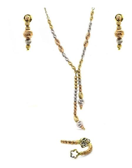 Conjunto Anel Brinco E Colar Ouro Rose 18k Diamantado J22661