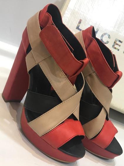Zapatos / Sandalias Taco Alto Combinado Casi Nuevas. Lucerna