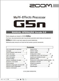 Manual Em Português Da Pedaleira Zoom G5n Versão 2.0