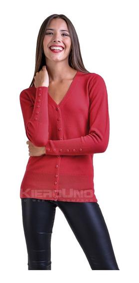 Cárdigan Escote V Mujer Con Botones Manga Sweater Saco