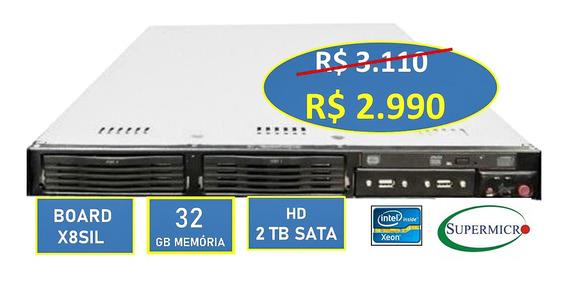 Servidor Rack 1u Supermicro Xeon 32gb 2 Hd 1tb Trilhos