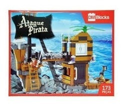 Kit Ataque Pirata Com Barco E Forte Blocos De Montar 173 Pçs