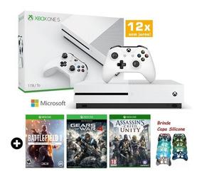 Xbox One S 1tb Slim 3 Jogos Microsoft Blu-ray 4k Hdr +brinde