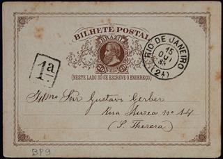 Brasil 1883 Bilhete Postal Rj 20rs Cabeça Grande Marron