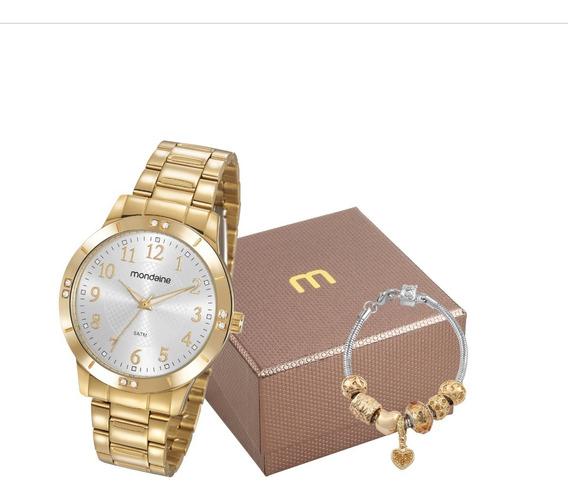 Relógio Mondaine Feminino Dourado 83468lpmvde1k1 + Nf-e