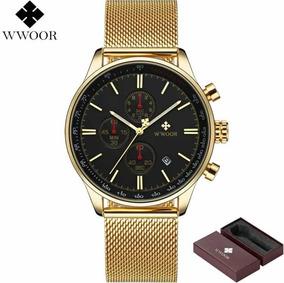 Relógio Masculino Wwoor Gold Mr 8862 Luxo Pulseira Original