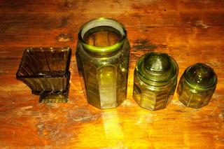 Set: 1 Copa 3 Fcos 2 Tapas Vidrio Tipo Vintage Color Verde