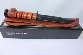 Faca Ka Bar 1217 Usmc - Combate - Couro Legítimo - Usa Made