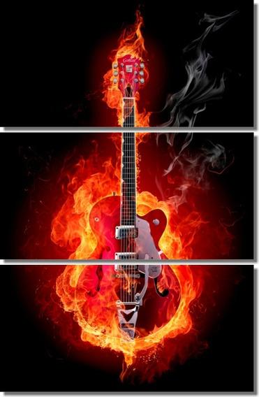 Cuadro Guitarra Fuego Rock Musicos Bandas 120x80cm Div Tela