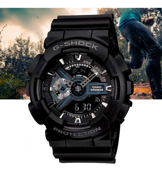 Relógio Casio G-shock Padrão Analó Digital Ga-110-1bdr Preto