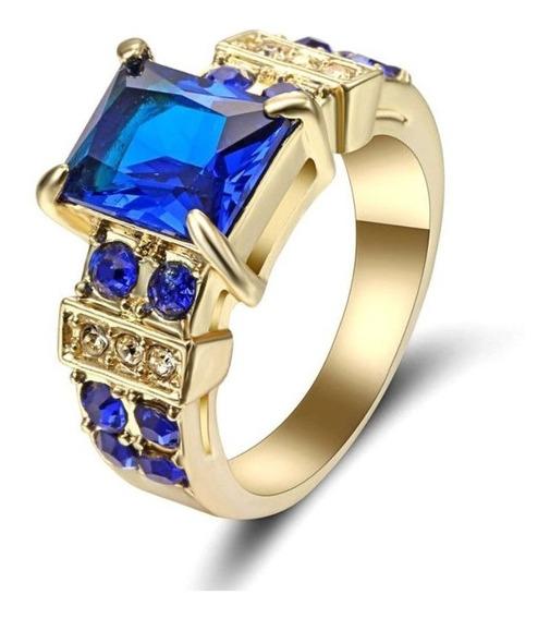 Aro 16 Anel Feminino Cristal Safira Azul 3 Banhos Ouro 225 P