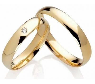 Par Alianças Ouro 18k 750 Clássica Polida Diamante 5 Gramas