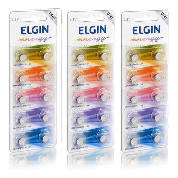 3 Cartelas C/10 Un. Bateria Alcalina Energy Lr41 1,5v Elgin