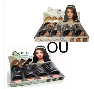 Pó Compacto Facial Queen Claro Ou Escuro Caixa 32 Queen