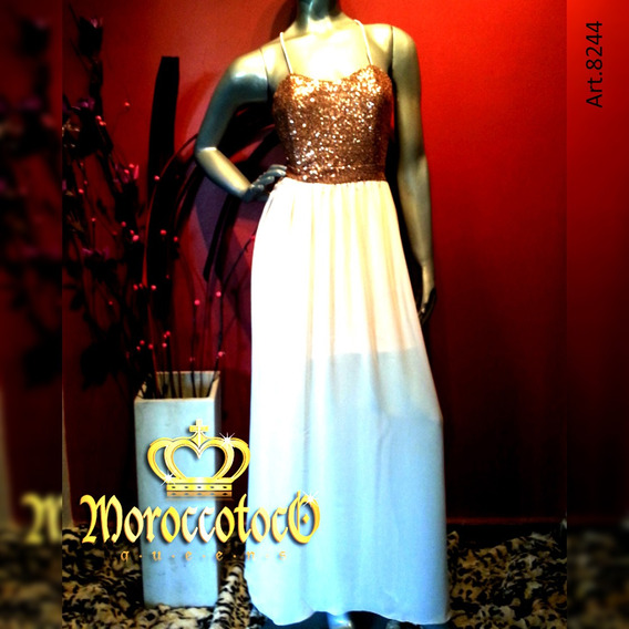 Vestido Largo Fiesta Gasa Lentejuelas Importado Art 8244