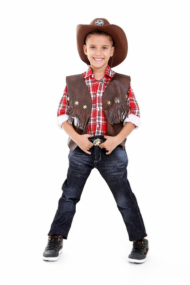 Colete Cowboy Country Com Chapeu Infantil Unissex,rodeio