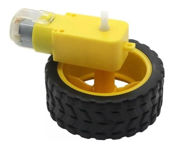 Motor Dc 3-6v Com Caixa De Redução E Eixo Duplo + Roda 68mm