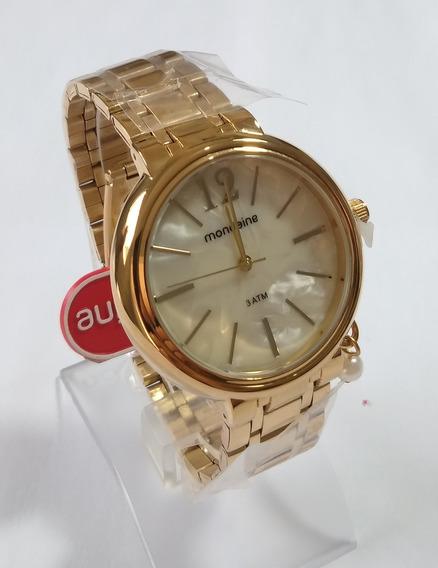 Relógio Dourado Feminino Mondaine Original 76708lpmvde1