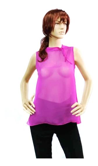 Blusa Chiffon Lacito Sin Mangas Rose Fashion