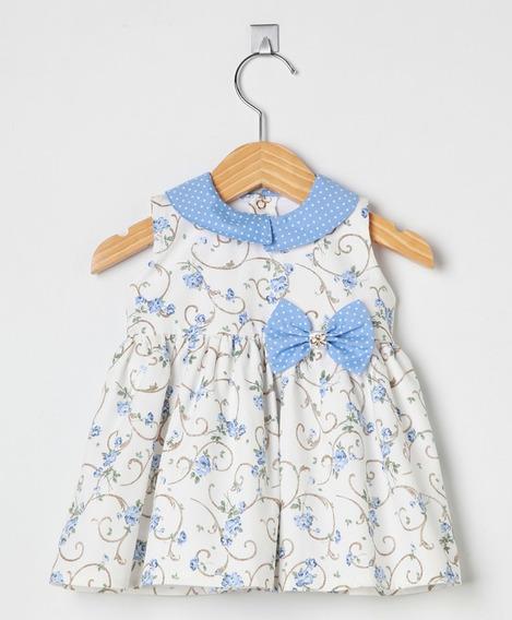 Vestido Bebê Menina Pingo Doce Arabescos Azul