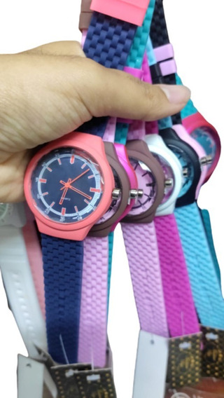 Kit 10 Relógios Unissex Borracha Colorido Atacado Revenda