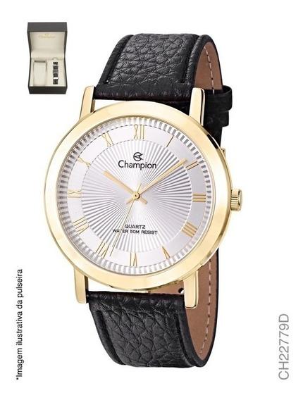 Kit Relógio Champion Masculino Couro Ch22779d Com Pulseira