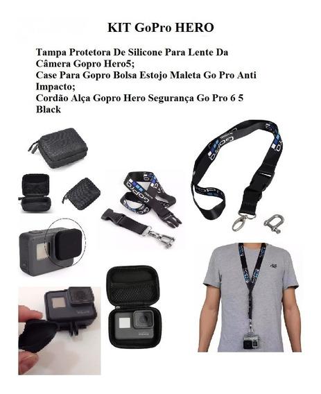 Kit Acessórios Gopro - Cordão Alça + Tampa Silicone + Case