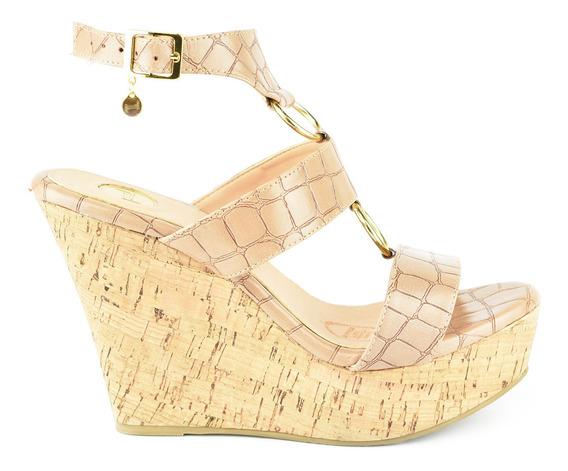 Sandalia Plataforma Para Mujer Lob Footwear 690-9960 Beige Nuevo Oi19