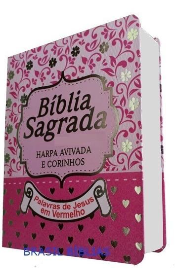 Bíblia Sagrada Letra Média Harpa Feminina E Masculina 16 Cm