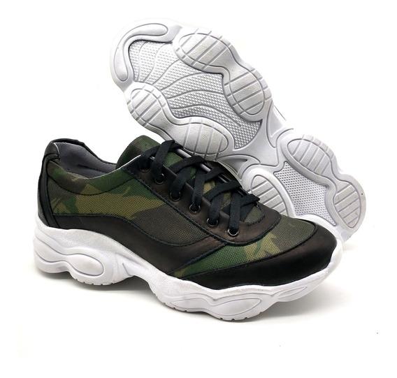Tenis Feminino Sneakers Casual Bota Em Couro Legítimo Chunky