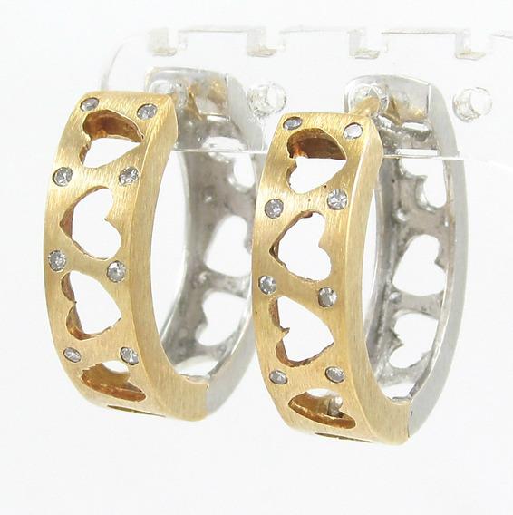 Esfinge Jóias - Brinco Argola Duas Cores Diamantes Ouro 18k