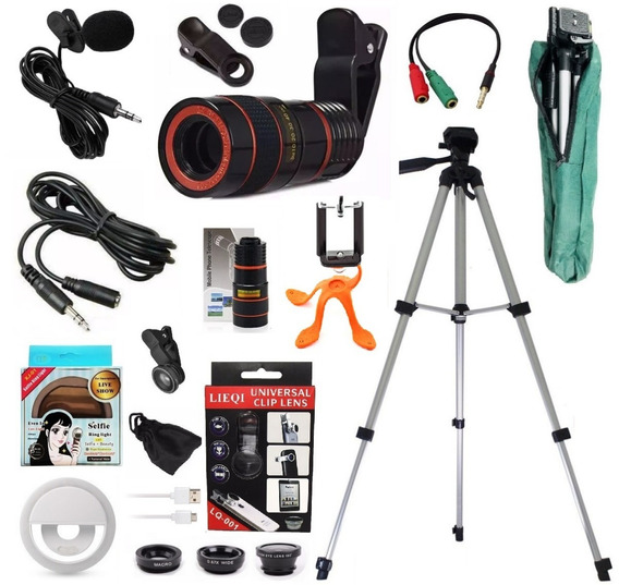 Kit Youtuber Tripé 1,30mts Microfone Lapela Celular + Luneta