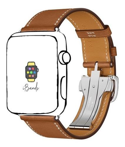 Imagem 1 de 7 de Pulseira Ibands Couro Legítimo Deployant Para Apple Watch