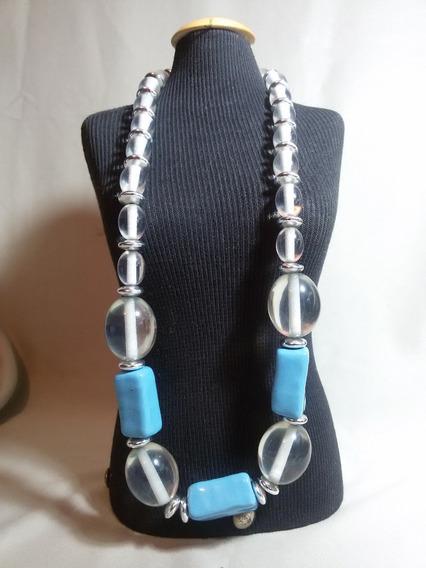 Antigo Colar Bijuteria Fina Detalhe Porcelana Azul-nº 5220n