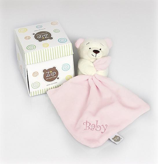Mini Blanket (naninha) Ursinho Em Plush Rosa Zip Toys