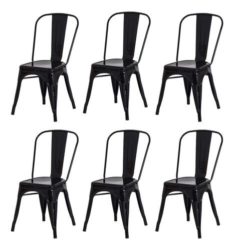 Imagem 1 de 6 de Kit 6 Cadeiras Tolix Iron Industrial Design Várias Cores