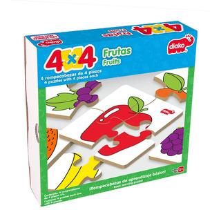 Rompecabezas De Madera 4x4 Frutas (4 Rompecabezas)