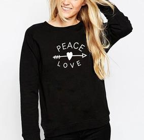 Moletom Casaco Blusa Gola Redonda Roupa Peace Love Feminino