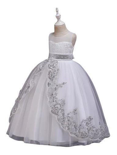 Vestido Niña Fiesta Elegante, / Comunion/blanco Lentejuela