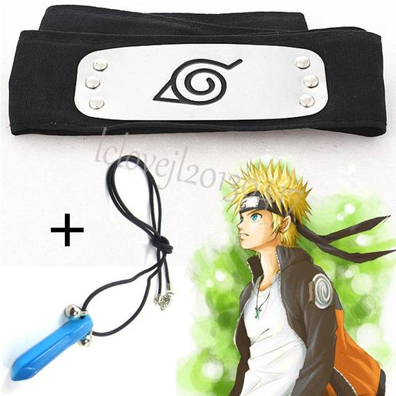 Arg Naruto Shippuden Paquete Collar Hokage Azul+ Banda Hoja