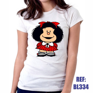 Camiseta Baby Look Mafalda Desenho Hq Cinema Personalizada
