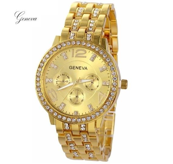 Relógio Feminino Original Dourado Bonito Aço Luxo Promoção