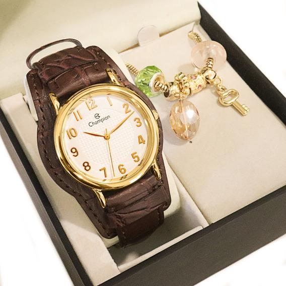 Relógio Champion Feminino Dourado Couro + Colar E Brincos