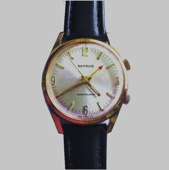 Relógio Pulso Benrus Alarme Swiss Luxo 17 Rubis, De Coleção