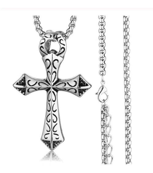 Corrente Com Pingente Crucifixo Aço Inox Cirúrgico Religioso