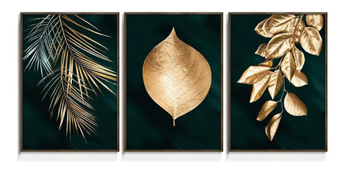 Quadros Decorativos Folhas Douradas Sala Entrada Recepção