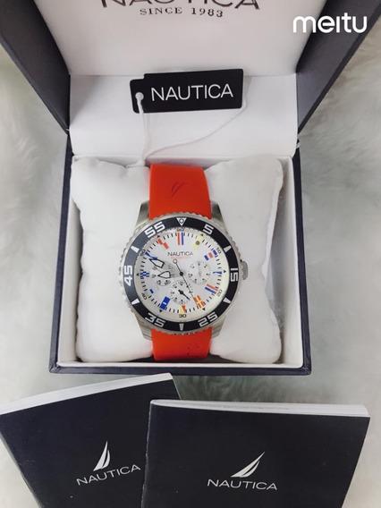 Relogio Qqz854 Nautica Vermelho Mostrador Branco C/ Caixa