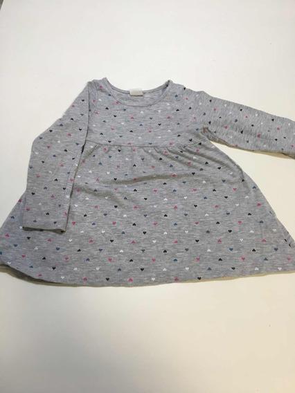 Vestido H&m Gris Con Corazones De Color Talle 1 1/2 A 2y