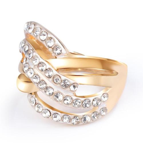 1081536b90 Joyas Moda Retro 24k Chapado Oro Anillos Diamante De Imitaci